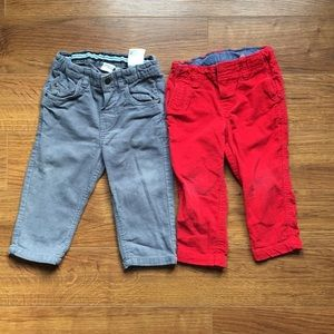 4/30$ H&M 9-12 m corduroy pants red and Gray
